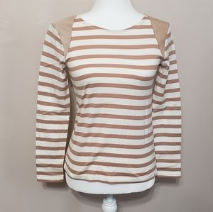 J crew collection striped suede shoulder tee